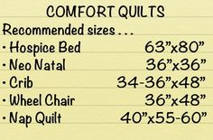 Excellent measurements to have. Recommended comfort quilt sizes when making charity quilts.