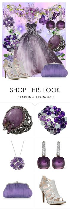"""""""Wisteria Wishes"""" by amanda-lombardi ❤ liked on Polyvore featuring Wendy Yue, Roberto Coin, Pomellato, Julia Cocco', Fergalicious, Prom, purple, dress and classy"""