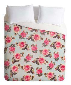 Love this Fuchsia & Light Blue Allyson Johnson Pink Roses Duvet Cover on #zulily! #zulilyfinds