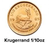 The 1/10 oz South African Gold Kurgerrand is arguably the most popular gold coin ever issued as legal tender by a national mint. It is certainly the most widely traded gold bullion coin in the world. Each coin depicts the profile of South African's first president, Paul Kruger and a leaping springbok on the other side. For up to date pricing or to check availability then please follow this link to find a Morris and Watson branch near you - http://morrisandwatson.com/contact/