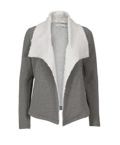 Sherpa Lapel Open Knit Blazer, Grey