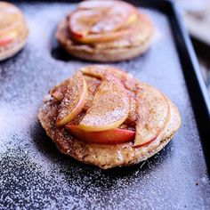 """Apple Peanut Butter Delights - Apples and peanut butter and cinnamon sugar on an english muffin, cooked in the oven. """"Little apple peanut butter pies"""" Apple Snacks, Apple Recipes, Snack Recipes, Dessert Recipes, Cooking Recipes, Dinner Recipes, Cooking Cake, Cooking Videos, Fall Recipes"""