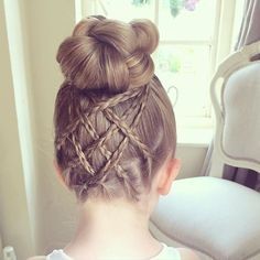 A knotted Bun with Cross Over Accent Braids  If you'd like to receive emails of my new tutorials and my upcoming Hair Care Range, please join my mailing list via my website www.sweetheartshairdesign.co.uk  #sweetheartshairdesign #bunhairstyle #braidsforlittlegirls #bun #peinado #plait #trenza #tresse #coiffure