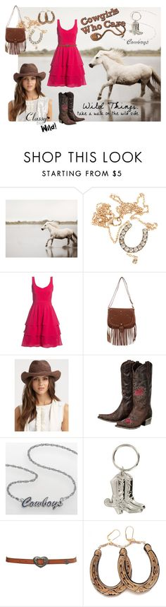 """""""Cowgirls Who Care - Classy but Wild!"""" by skr-designs ❤ liked on Polyvore featuring Børn, Elise Dray, Helen Kaminski, LogoArt, Topshop, Rosita Bonita, cowboy boots, hats, horses and brown"""