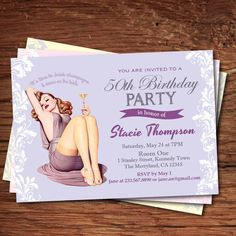 Woman 50th birthday invitation. Woman, pin up girl champagne birthday party printable digital invitation. Bubble brunch invite AB055 by CrazyLime on Etsy https://www.etsy.com/listing/236929518/woman-50th-birthday-invitation-woman-pin