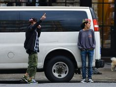 Thanks to @gcstate - Benji Madden & Samantha Ronson grab a taxi in NYC.