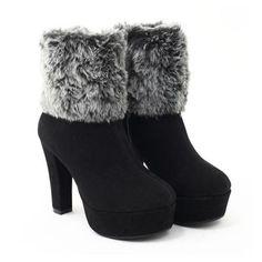 Plain Fur Platform Ankle Boots High Heels
