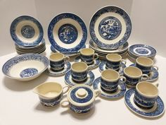Vintage Blue Willow - USA - 42 Piece China Dinnerware Dishes Plates Bowls Saucers + #BlueWillow  ..... Visit all of our online locations ..... (www.stores.eBay.com/variety-on-a-budget) ..... (www.amazon.com/shops/Variety-on-a-Budget) ..... (www.etsy.com/shop/VarietyonaBudget) ..... (www.bonanza.com/booths/VarietyonaBudget ) .....(www.facebook.com/VarietyonaBudgetOnlineShopping)