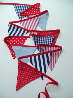 NAUTICAL banner, small flag fabric bunting in red, navy, blue and white.. $25.00, via Etsy.