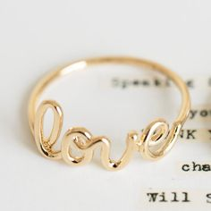 Gold Plated LOVE Ring | The Alchemy Shop, LLC