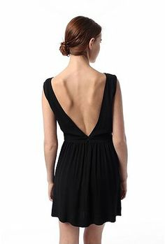 Silence & Noise Crepe V-Back Dress on UrbanOutfitters. Medium. Black or Ivory $68