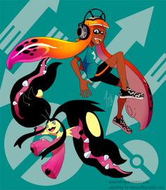 Cafe-Cardamari-- Daily Drawing #9 l Squids and Mons #1 l Patreon l DA Version I usually upload my daily drawings to my main art blog, but since this is splatoon related, I'll upload it here first. I finally decided to start this series where I draw my squids with...