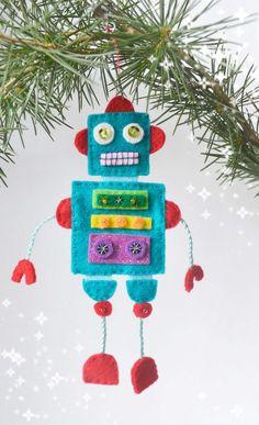 Robot Felt Christmas Felt Robot Christmas Tree by loubibludesigns