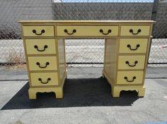 Vintage Modern Desk or Vanity in Antiqued Yellow Los Angeles by housecandyla, $225.00