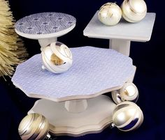 A trio of festive DIY cake stands - they come apart for storage when you aren't using them.
