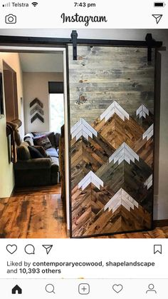 Rustic Wood Mountains Sliding Barn Door By Bayocean Rustic Design My New Room, Rustic Design, My Dream Home, Diy Furniture, Cabin Furniture, Western Furniture, Furniture Design, Outdoor Furniture, Home Projects