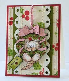 "Peet Roeven created this delightful card using Penny Black's transparent set, ""Christmas Friends""."