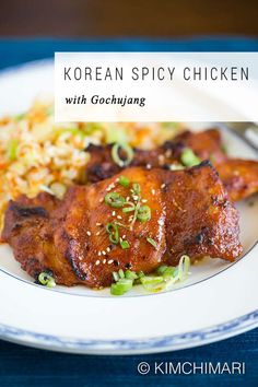 Korean Spicy Chicken marinated in lightly sweet gochujang sauce then baked to perfection. Recipe can be used for both chicken breasts and thighs. Easy, simple and healthy. Asian Recipes, Beef Recipes, Chicken Recipes, Ethnic Recipes, Chicken Marinades, Baked Chicken, Korean Bbq Recipe, Korean Food, Korean Dishes