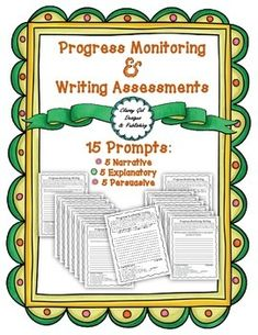 *Update: MORE prompts! Progress Monitoring Assessment for Writing is a tool to aid in data collection of student progress in writing. It is valuable in determining future goals for Response to Intervention (RTI) goals or in developing IEP goals. Progress Monitoring Assessment for Writing, though simple, has many uses:~Parent teacher conferences~IEP development~Progress Monitoring~Grading~Data Collection for RTI meetingsNow with more prompts...thanks for the feedback! 15 Writing Prompts-