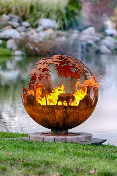 Up North Fire Pit Sphere   DYO   Choose firepit Animals Yourself