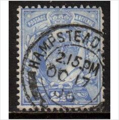 GB Scott 131, 1902 2.1/2d Blue used stamps sur le France de eBid