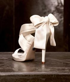 Love the #bow accent from White by Vera Wang #weddings #shoes