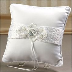 "WeddingDepot.com ~ Ring Bearer Pillow - Devotion - White ~ An embroidered ribbon spans the pillow's front to add depth to the design.  Pillow measures 7"" square. Back has a hand-band for easier holding."