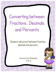 This is a FREE printable in which your students will convert fractions, decimals and percents. Common Core standard covered is 4.NF.6.    Answer key provided.    Thank you for looking,  Amy Alvis