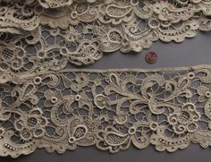 Dramatic 19th C. Gros Point de Venise Needle Lace Yardage -- DECOR COLLECT in Antiques | eBay