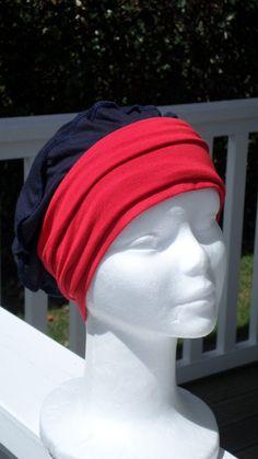 Turban bonnet béret chapeau couvrechef bandeau chimio cancer  jersey   femme  marine et e7e4c1b4ffa