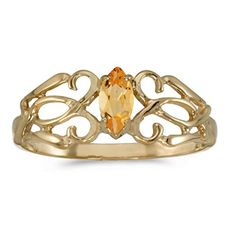 14k Yellow Gold Marquise Citrine Filagree Ring Size 65 *** You can get additional details at the image link.Note:It is affiliate link to Amazon.