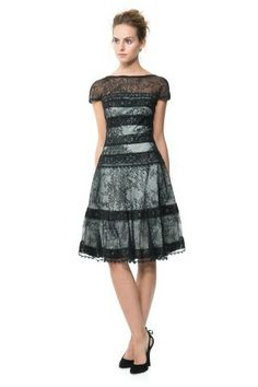 Banded Cotton Lace Fit and Flare Dress | Tadashi Shoji