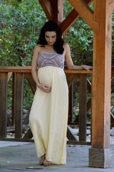 Yellow Kaydence Maxi Dress from Heritwine Maternity. Perfect for babymoons, baby showers, weddings, gender reveal, and any other special occasion.