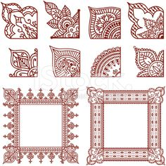design To Draw Corner - A series of corner designs plus two finished frames Inspired by the art of mehndi Henna Doodle, Henna Art, Mandalas Painting, Mandalas Drawing, Henna Tattoo Designs, Mehandi Designs, Henna Tattoos, Paisley Tattoos, Henna Designs Drawing