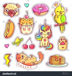 stock-vector-stickers-set-in-s-s-pop-art-comic-style-patch-badges-and-pins-with-cartoon-animals-sweet-and-588551822.jpg 1,500×1,600 pixeles