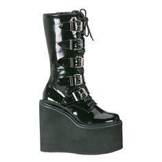 44926387746 Demonia SWING-220. Platform Ankle BootsHigh Platform ShoesBlack ...