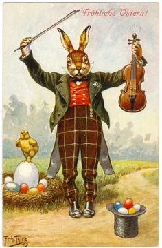 Postcard Thiele Easter Rabbit with Violin 1912 T s N Series 1157 Easter Greeting Cards, Vintage Greeting Cards, Vintage Postcards, Easter Art, Easter Crafts, Easter Bunny, Happy Easter, Decoupage, Easter Parade