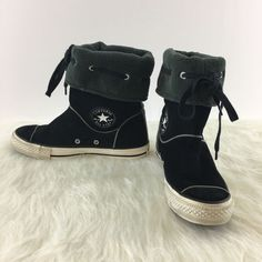 978c885374d6ef Converse All Star Black Suede Calf Boots Size 7 Womens Chuck Taylor Fleece  Lined  fashion