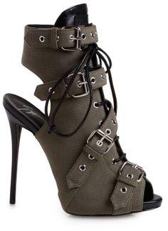 Super hot shoes// Giuseppe Zanotti Buckled Peep-Toe Bootie on shopstyle.com