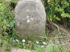 Stone commemorating the visit of St Bridget to Glastonbury in the 5th century - and the site of a medieval garden to be recreated at Bride's Mound in the near future - see The Once & Future Camelot (pub. May 26th by Momentum/Pan Macmillan)