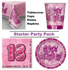 Pink glitz 18th happy birthday 8-48 #guest #starter #party pack cups plates napki,  View more on the LINK: http://www.zeppy.io/product/gb/2/282005043447/