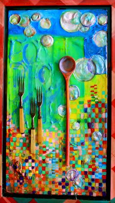 Wooden spoon, antique forks.  Janice Kitson. Mixed media, found object, photograph, resin collage painting. $295 Find Objects, Wooden Spoons, Forks, Resin, Steampunk, Mixed Media, Photograph, Collage, Wall Art