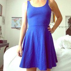 Dress Blue skater dress flared dress circle skirt circle dress new never worn Express Dresses Mini