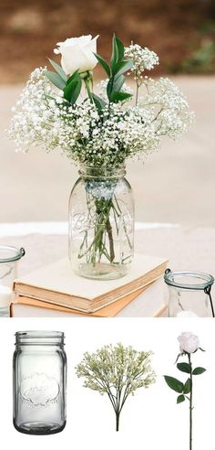 simple diy vintage rustic wedding centerpice ideas with mason jars baby's breath and books