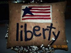 LIBERTY handmade primitive americana PILLOW Cotton Fabric penny rug style WOOL FELT July 4th Patriotic RED White BLUE size 9 inches x 8 inches via Etsy