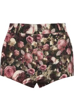 Givenchy|Roses print boiled wool-blend shorts|NET-A-PORTER.COM
