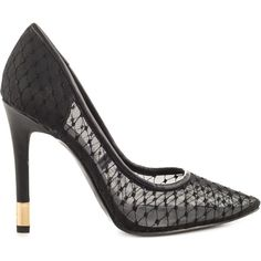 Guess Footwear Women's Babbitt - Black Multi Fabric (€90) ❤ liked on Polyvore featuring shoes, black, black pointed toe shoes, see-through shoes, pointed toe shoes, pointy toe shoes and transparent high heel shoes
