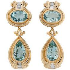 Aquamarine, Diamond 18K Yellow Gold Earrings