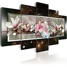 """Magnolia Flower Wall Art Canvas Painting White Pink Floral Picture Contemporary 5 Panels Print Artwork Decor Modern Black Night Background Framed (40""""x20"""",Magnolia)"""