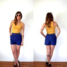 80's Electric Blue High Waisted Shorts Faux Suede by TheVelvetMoon, $37.00